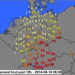 Wahrscheinlichkeit Bodenfrost 18042014 06z Quelle: DWD / wetter24.de